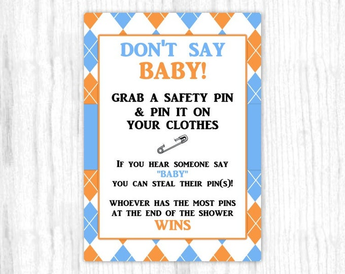 Don't Say Baby game, Printable Party Games, Baby Shower Game - Blue and Orange Argyle, 5x7 size