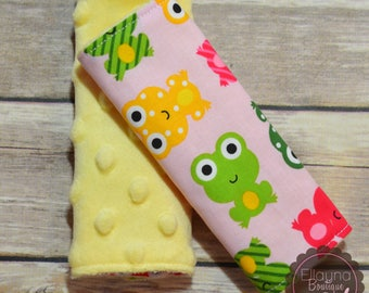 Car Seat Strap Covers - Frogs, Yellow, Pink, Green