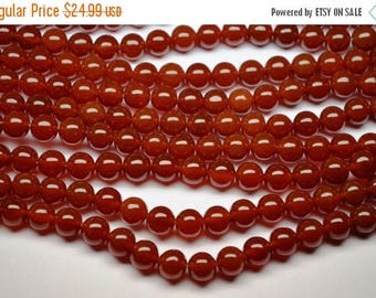 40%OFF 2 Strands Sale-AAAA 15 Inch 10mm Deep Natural Red Chalcedony Smooth Polished Round Beads Strand-38 Beads/Strand