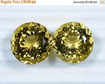 40%OFF AAAA Pair Gemstone Natural Citrine Quartz Round Cut Loose Gemstone/Pair Of Round Citrine Gemstone 32.10 Cts(0695-696)