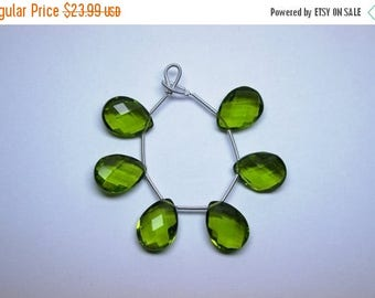 40%DIS AAA 3 Matched Pair 12x16mm Peridot Quartz Micro Faceted Pear Pair Briolette Beads