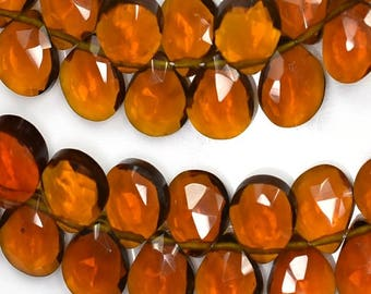 AAAA Vivid 7 Inch 8mm-Deep Beer Quartz Faceted Heart Shape Briolette Beads-45 Beads/Strand Approx