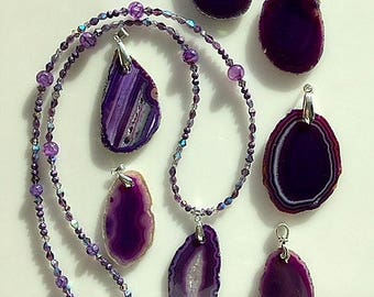 Purple Agate Slices - Purple Agate Necklace - Choice of Agate Slice -  Pendant or Necklace