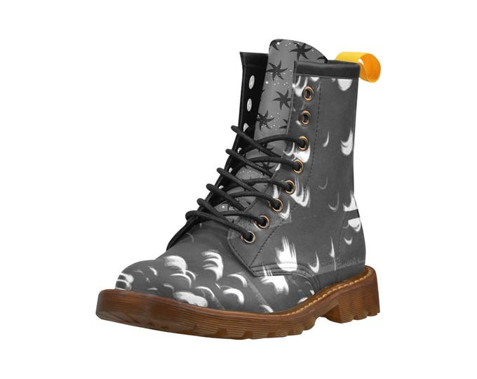 The Eclipse, Men's high top combat boots, 80's style, unisex prints