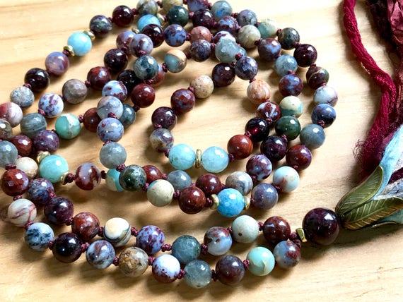 Root Chakra Mala Beads - Fire Agate Mala - Garnet Mala Necklace - Spiritual Jewelry - Yoga Mala - Yoga Prayer Beads - Long Tassel Necklace
