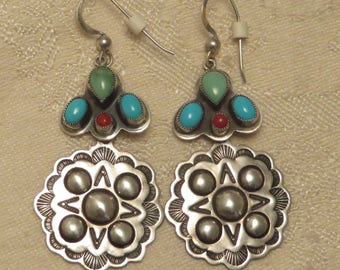 Pretty Don Lucas Southwestern south western Native American sterling silver seeping beauty turquoise coral gem stone dangle wire earrings