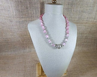 SALE Tibetian Silver  Pink beaded necklace elongated glass Beads Necklace