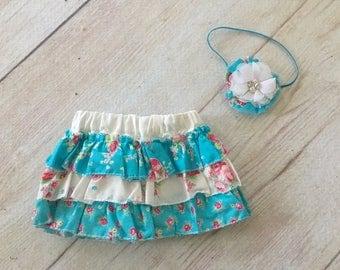 Newborn Baby Girl Skirt Diaper Cover and Headband Photography Prop