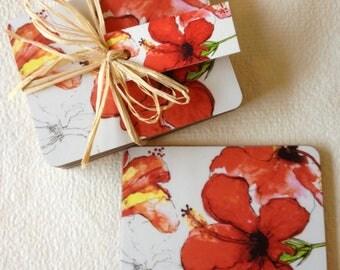 Coaster Red Hibiscus
