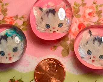 6 Pc Betsy the Kitty Cat Kitten Glass Cabochons Handmade Embellishments Kitschy Kitsch Decor Decorations Vintage Retro Sweet Vintage Designs