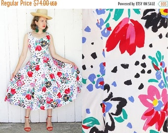 30% OFF Vintage 80s Dress | 80s Pop Art Print White Cotton Sundress Sleeveless | Medium M Large L