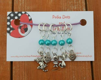 Knitting Stitch Markers-  beaded Stitch Markers - progress keepers - set of 5