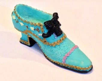 ON SALE - Collectible Miniature Turquoise Blue with Accent Colors High Heeled Slipper