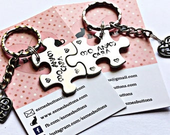 Valentines gift, Mo Anam Cara, My Soulmate, Couple keychains, Puzzle pieces, lovers, marriage Keychains, uk seller, made in Norfolk,