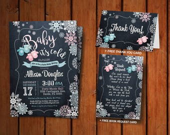 Baby it's Cold Outside. Twins Baby Shower Digital Printable Invitaion. Baby Mittens / DIY CARD