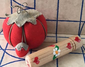 Vintage Pin Cushion, Tomato Pin Cushion w/attached Strawberry and Eye Needles in Wood Case/Holder, Small Size