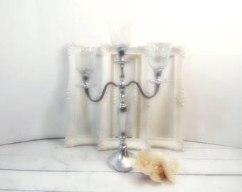 Silver Wedding Candle Candelabras 3 arm Shabby Candle Holder Party Candle Holder Glass Votive HOlders