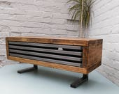Tv stand contemporary tv unit with drop down metal front rustic industrial