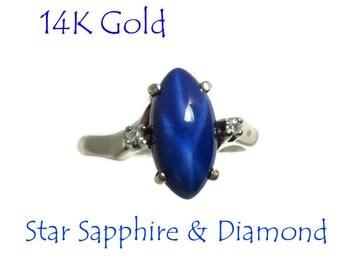 Star Sapphire - 14K White Gold Sapphire & Diamond Ring Vintage Estate September Birthstone Cocktail Ring  Size 6.5, FREE SHIPPING