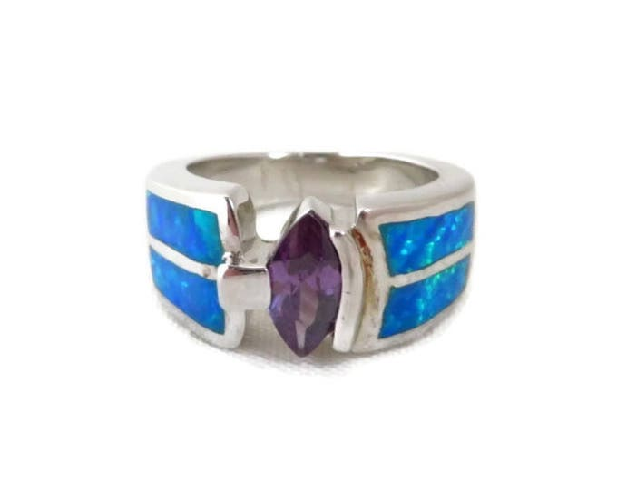 Vintage Amethyst and Opal Ring - Sterling Silver Wide Band Statement Ring, Size 6
