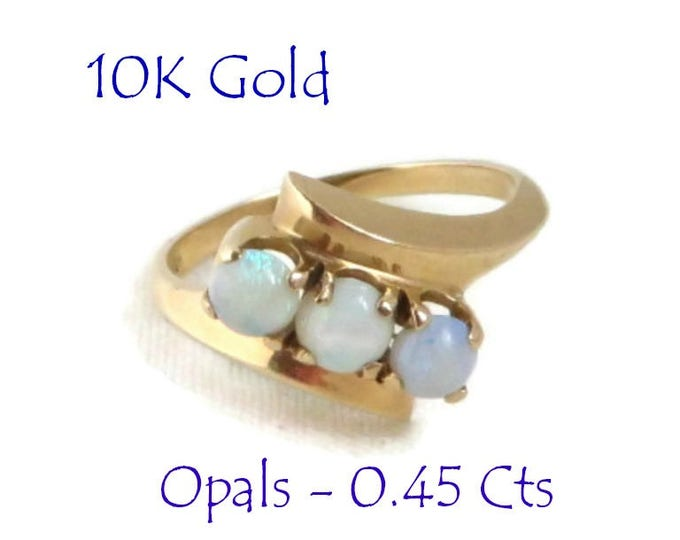 Opal - Vintage 10K Gold Opal Ring, Multistone Natural Opals Yellow Gold Ring, Gift for Her, Size 6
