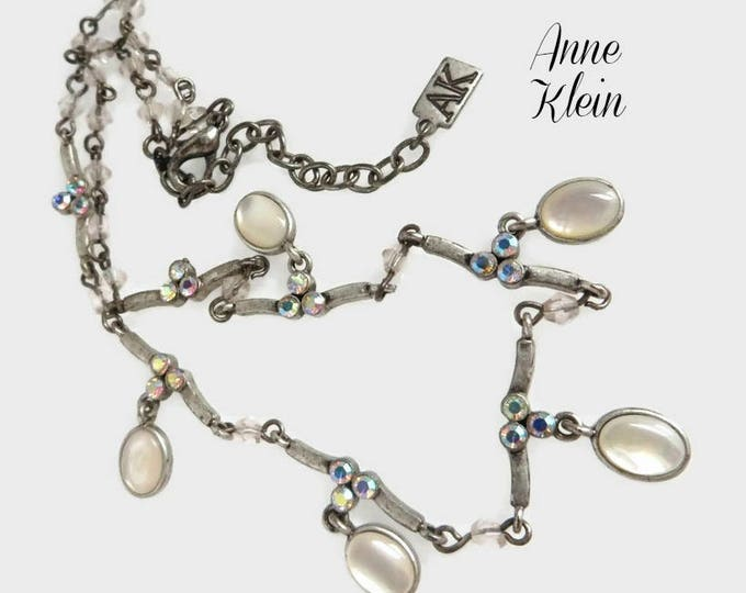 "Anne Klein Necklace, Vintage Faux Opal, Rhinestone Necklace, 16"" Length, Gift for Her, FREE SHIPPING"