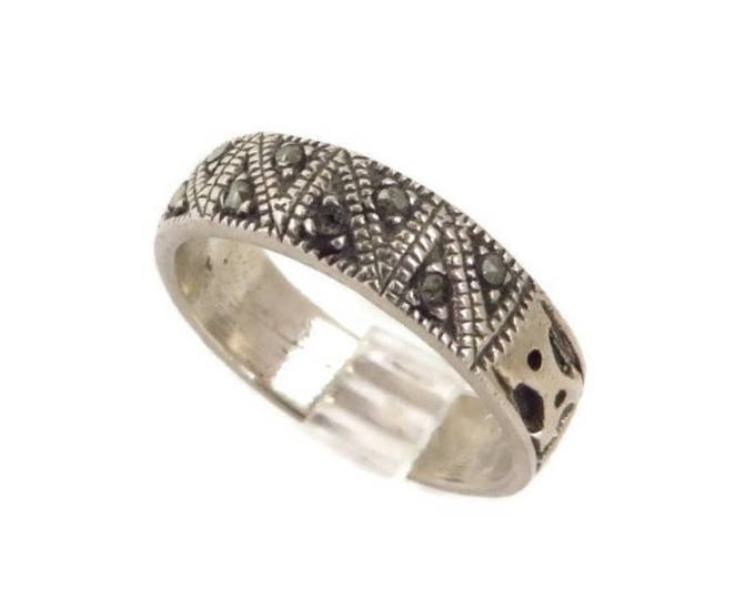 Sterling 925 Marcasite Ring, Vintage Unisex Silver Wedding Band, Size 9