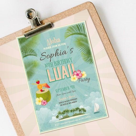 Luau Birthday Invitation INSTANT DOWNLOAD