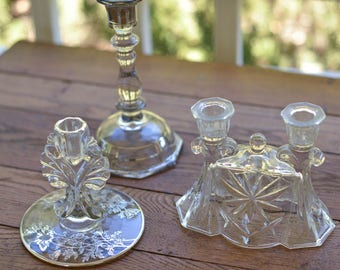 Lot of 3 Glass Candleholders, Silver Overlay, Vintage Candleholders