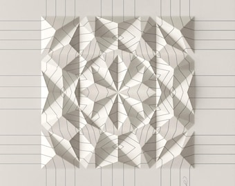 Geometric Wall Decoration - Art Relief - Folded Paper Crystal Mosaic - Modern Geometric Abstract Sculpture - By Kubo Novak -Draw-4EC8F