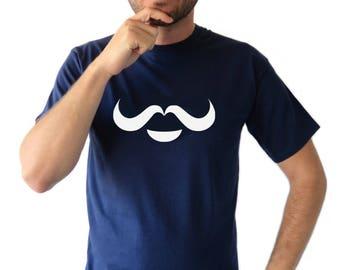 Birds or Moustache Gestalt T-shirt Men Short Sleeve