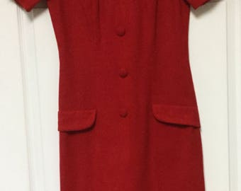 Vintage 50's Helen Whiting'Red Dress Petite Small Wool Blend