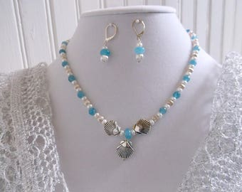 Aquamarine-Freshwater Pearls-Silver 17 inch Necklace and Earrings Set