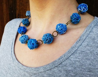 Upcycled jewellery. Recycled electric cables jewelry. Recycled blue necklace SHANGHAI