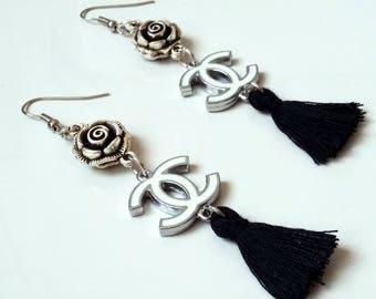 Chanel earrings with black tassels