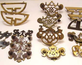 Mixed Lot Chippendale Drawer Pull Handles 17 Pieces Antique Hardware -Some Repro