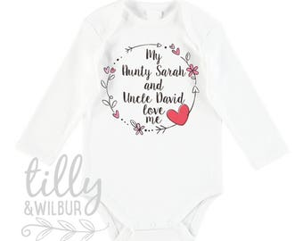 Tillywilbur personalised clothing gifts my aunty and uncle love me baby bodysuit for new arrival nieces and nephews newborn negle Choice Image