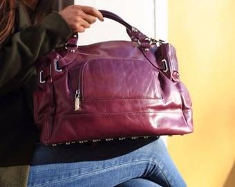 Purple Leather Bag / Leather Handbag / Leather Bag Purple / Purple Bag / Purple Handbag / Leather Hobo Bag / Purple Purse / Messenger Bag
