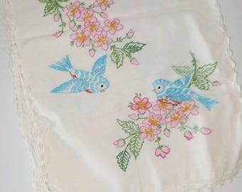 Vintage Embroidered Bluebird Runner-Ecru