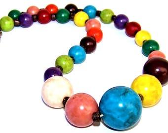 Colorful  Jewel Tone Wood Bead Choker Style Necklace