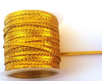 4 meters of gold ribbons brilliant 0.5 mm in width