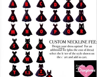 Custom Neckline Fee for HARDLEY DANGEROUS Couture, Bridesmaid Dresses, Bridal Party Dresses, Vintage Weddings, Quinceanera, Prom, Homecoming