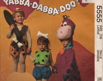 McCalls 5555 Hanna-Barbera Flintstones Character Sewing Pattern Pebbles Bambam Dino 7203 Large 7-8 Toddlers Boy Girl Halloween Costume UNCUT