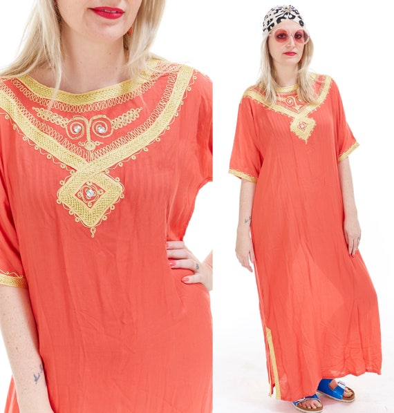 Vtg Moroccan CAFTAN Maxi Dress Gold METALLIC EMBROIDERED Draped Resort Beach Coverup Boho Tribal Ethnic Loungewear Hippie Festival Sienna os