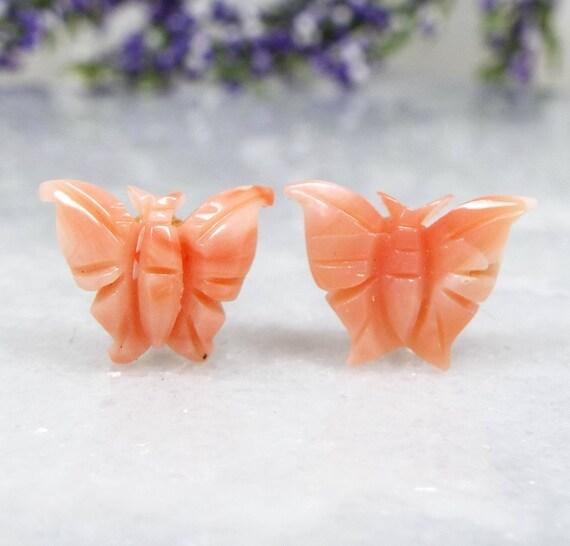 Vintage / Sterling Silver Dainty Angel Skin Coral Butterfly Stud Earrings 925