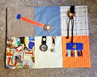 Men's Fidget Fiddle quilt/ sensory busy blanket / Dementia Alzheimers Stroke Autism TBI