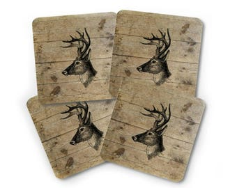 Deer Coaster Set - Drink Coasters - Deer Coasters - Gift for Him - Rustic Home Decor - Nature Lover Gift - Man Cave Decor