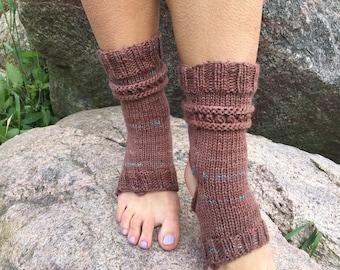 Yoga Socks Hand Knit Pilates Socks brown Socks Dance Socks Slipper Socks Women Socks  Colorful Hipster Socks Yoga active wear