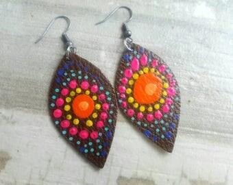 Upcycled Leather Earrings Hand Painted Earrings Boho Earring Leather Jewelry Zen Earrings, Mandala  Earrings Tribal Earrings Ethnic Jewelry