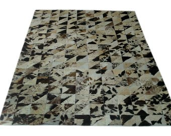 Handmade Cowhide Patchwork Rug - Beautiful Hair On Carpet - Luxurious Rug - R-09